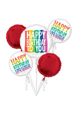 Amscan folieballonpakket rainbow birthday 5-delig