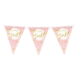 Vlaggenlijn it's a girl baby roze/goud 10 meter