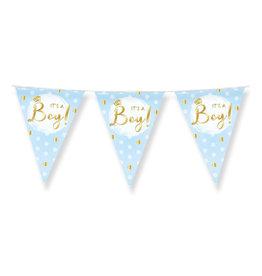 Vlaggenlijn it's a boy baby blauw/goud 10 meter