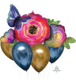 Amscan folie/latex ballonnenboeket bloemen goud blauw 5-delig