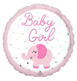 Amscan folieballon baby girl olifantje 43 cm