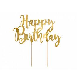 Cake topper happy birthday goud
