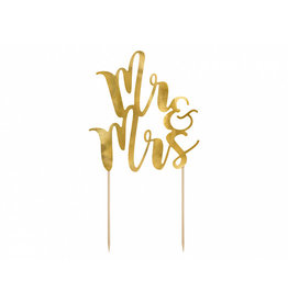 Partydeco cake topper Mr & mrs goud