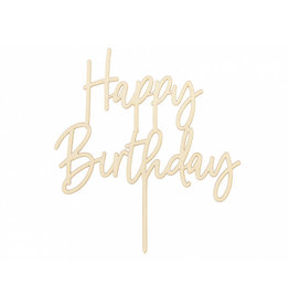 Cake topper happy birthday hout