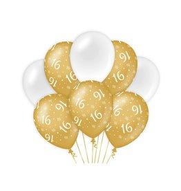 Gold & White latex ballonnen 16 jaar 8 stuks