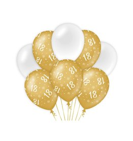 Gold & White latex ballonnen 18 jaar 8 stuks