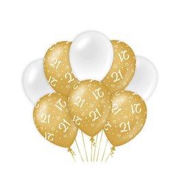 Gold & White latex ballonnen 21 jaar 8 stuks
