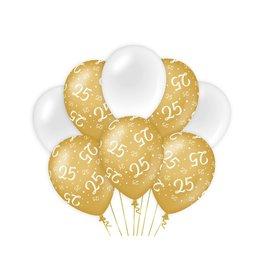 Gold & White latex ballonnen 25 jaar 8 stuks