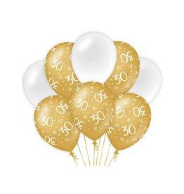 Gold & White latex ballonnen 30 jaar 8 stuks