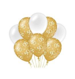 Gold & White latex ballonnen 50 jaar 8 stuks