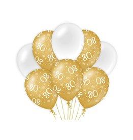 Gold & White latex ballonnen 80 jaar 8 stuks