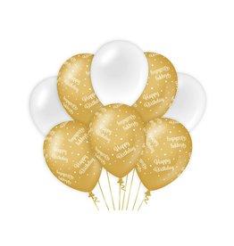 Gold & White latex ballonnen happy birthday 8 stuks