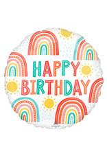 Amscan folieballon retro rainbow happy birthday 43 cm