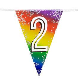 Boland vlaggenlijn metallic regenboog cijfer 2