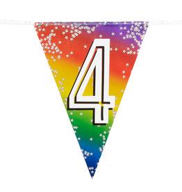 Boland vlaggenlijn metallic regenboog cijfer 4