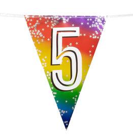 Boland vlaggenlijn metallic regenboog cijfer 5