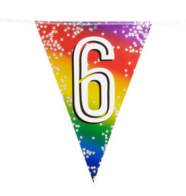 Boland vlaggenlijn metallic regenboog cijfer 6
