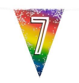 Boland vlaggenlijn metallic regenboog cijfer 7