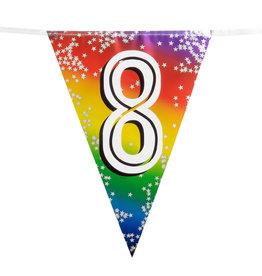 Boland vlaggenlijn metallic regenboog cijfer 8