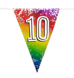 Boland vlaggenlijn metallic regenboog cijfer 10