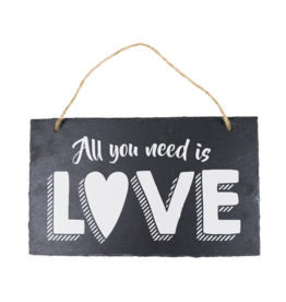 Leisteen bord All you need is love