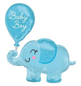Amscan folieballon supershape baby boy olifant 73 x 78 cm
