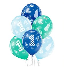 Belbal latex ballonnen 1st birthday boy 6 stuks
