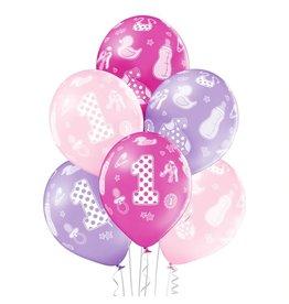 Belbal latex ballonnen 1st birthday girl 6 stuks