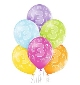 Belbal latex ballonnen 3rd birthday 6 stuks