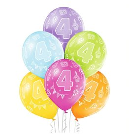 Belbal latex ballonnen 4th birthday 6 stuks