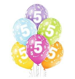 Belbal latex ballonnen 5th birthday 6 stuks