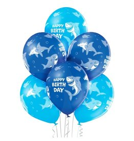 Belbal latex ballonnen birthday shark 6 stuks