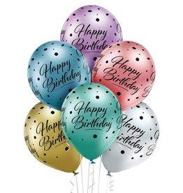 Belbal latex ballonnen chrome happy birthday 6 stuks