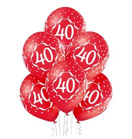 Belbal latex ballonnen 40th anniversary 6 stuks