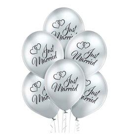 Belbal latex ballonnen chrome just married 6 stuks