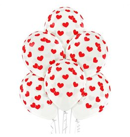 Belbal latex ballonnen transparant hart rood 6 stuks