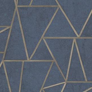 Dutch Wallcoverings Exposure grafisch blauw/goud - EP3704
