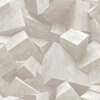 Dutch Wallcoverings Hexagone 3D stenen grijs - L505-07