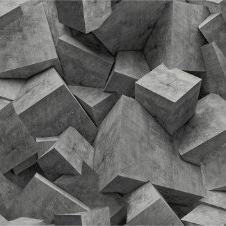 Dutch Wallcoverings Hexagone 3D stenen zwart - L505-19