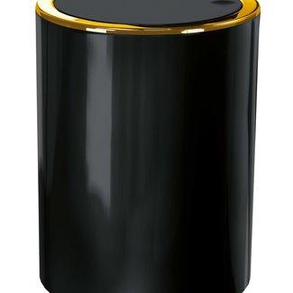 Kleine Wolke Afvalemmer Golden Clap zwart 5 ltr