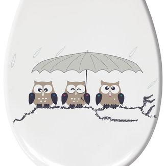 Kleine Wolke Toiletbril Eulen taupe 37x45cm