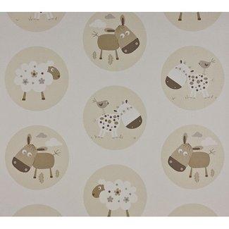 Dutch Wallcoverings Papier beesten beige/wit - 1200-0
