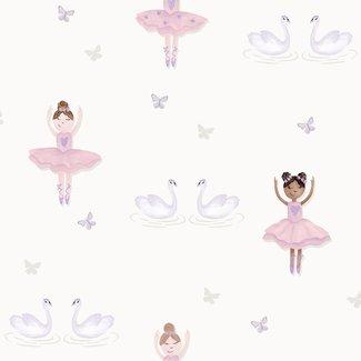 Dutch Wallcoverings Make Believe Ballerina wit/roze - 12461