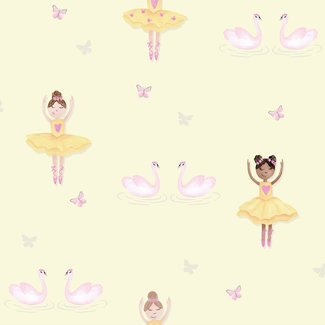 Dutch Wallcoverings Make Believe Ballerina geel/roze - 12462