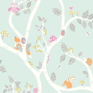 Dutch Wallcoverings Make Believe Woodland mint/roze - 12490