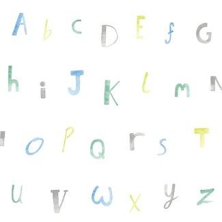 Dutch Wallcoverings Make Believe Alphabet blauw/groen - 12561