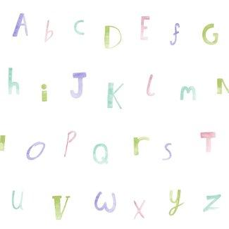 Dutch Wallcoverings Make Believe Alphabet lila/groen - 12562