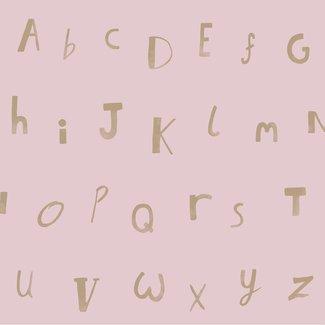 Dutch Wallcoverings Make Believe Alphabet roze/goud - 12563
