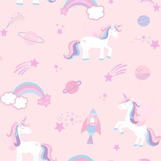 Dutch Wallcoverings Over The Rainbow- Unicorns Pink - 90961
