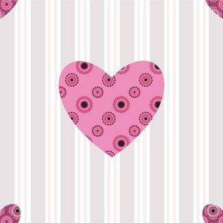 Dutch Wallcoverings Papier hart groot roze/grijs - 1226-6